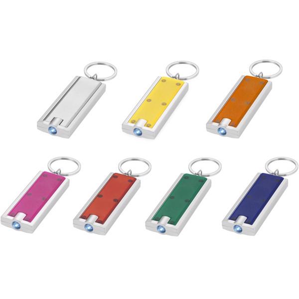 LED svítilna na klíče Castor - Zelená / Stříbrný