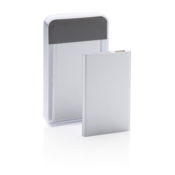Tenká powerbanka 4 000 mAh - Stříbrná / Bílá