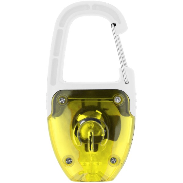 LED svítící klíčenka Reflect-or s karabinou - Žlutá / Bílá