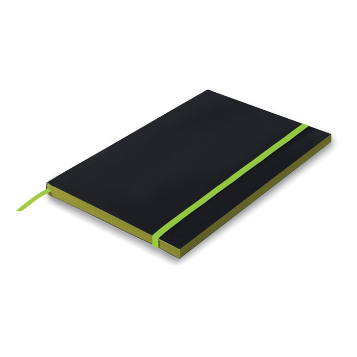 A5 Paper cover notebook lined Black Note - Lime