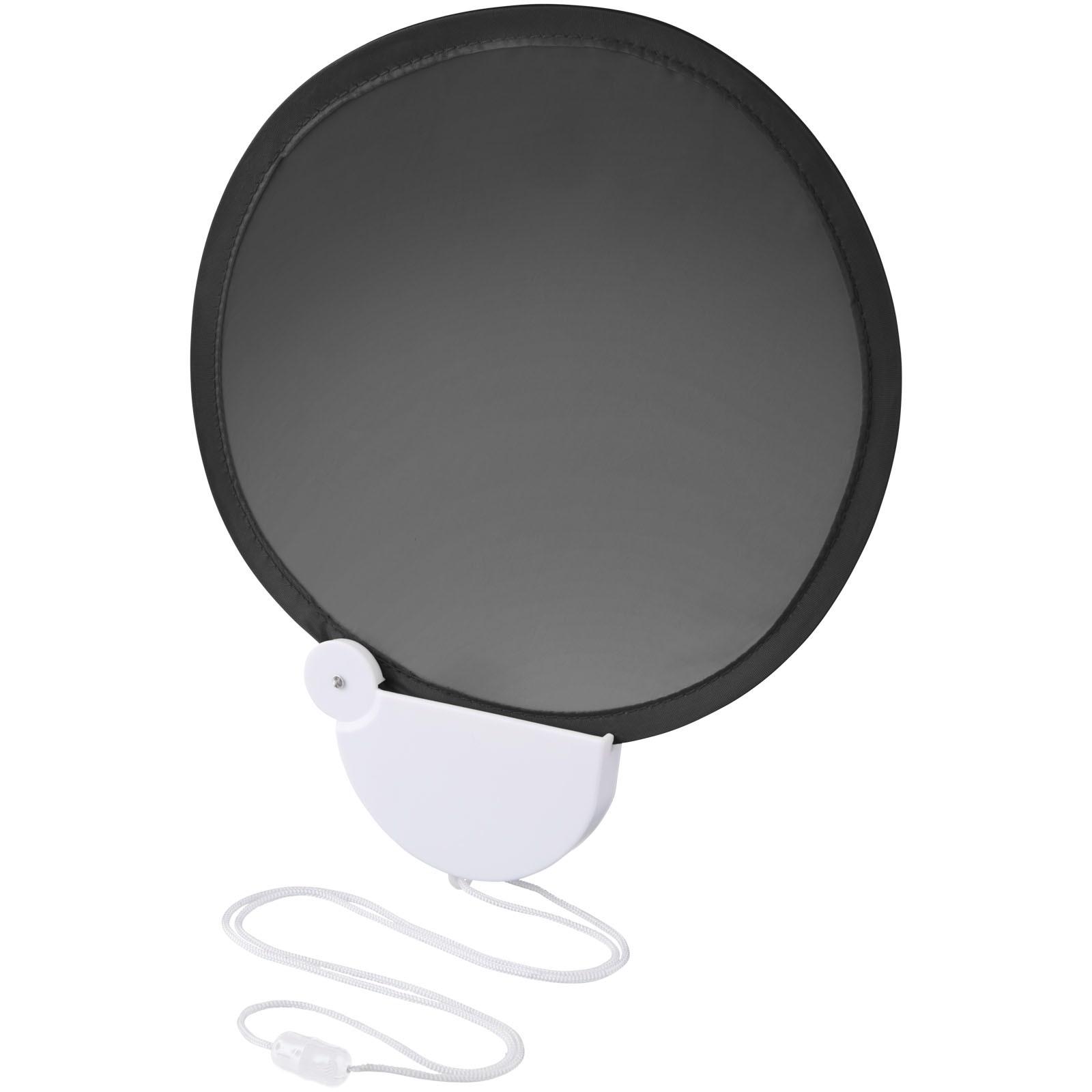 Skládací kapesní vějíř Breeze se šňůrkou - Černá / Bílá