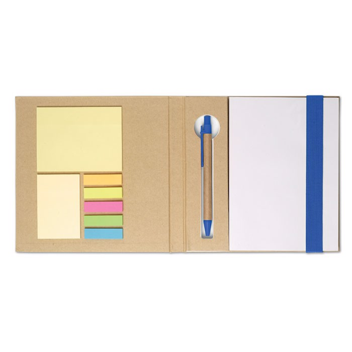 Notebook w/ stickynotes & pen Quincy - Royal Blue