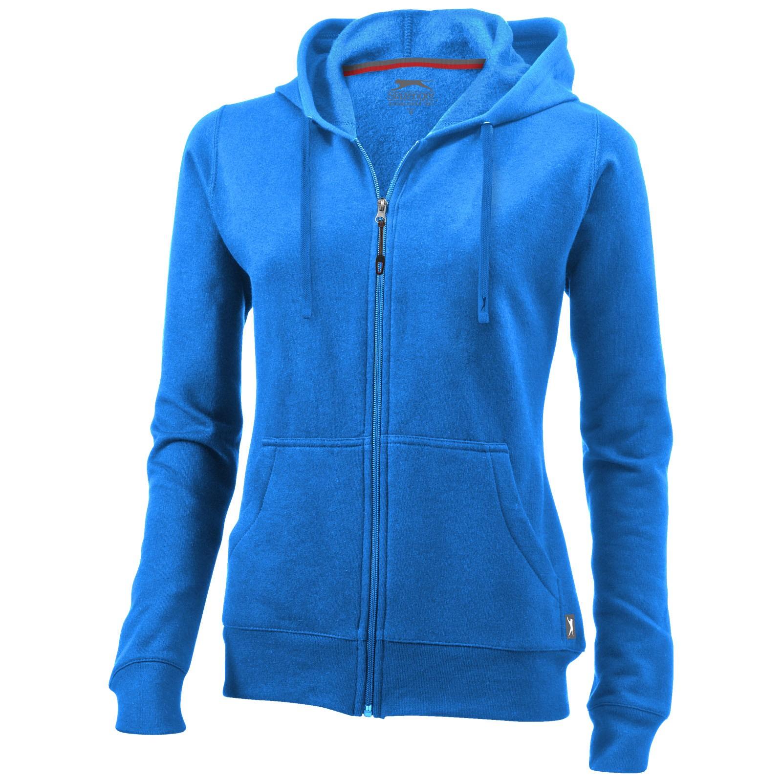 Open full zip hooded ladies sweater - Sky blue / L
