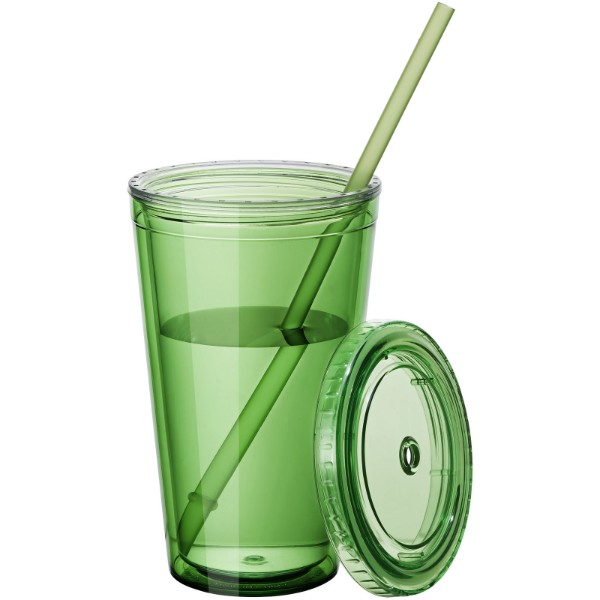 Cyclone 450 ml insulated tumbler with straw - Transparent green