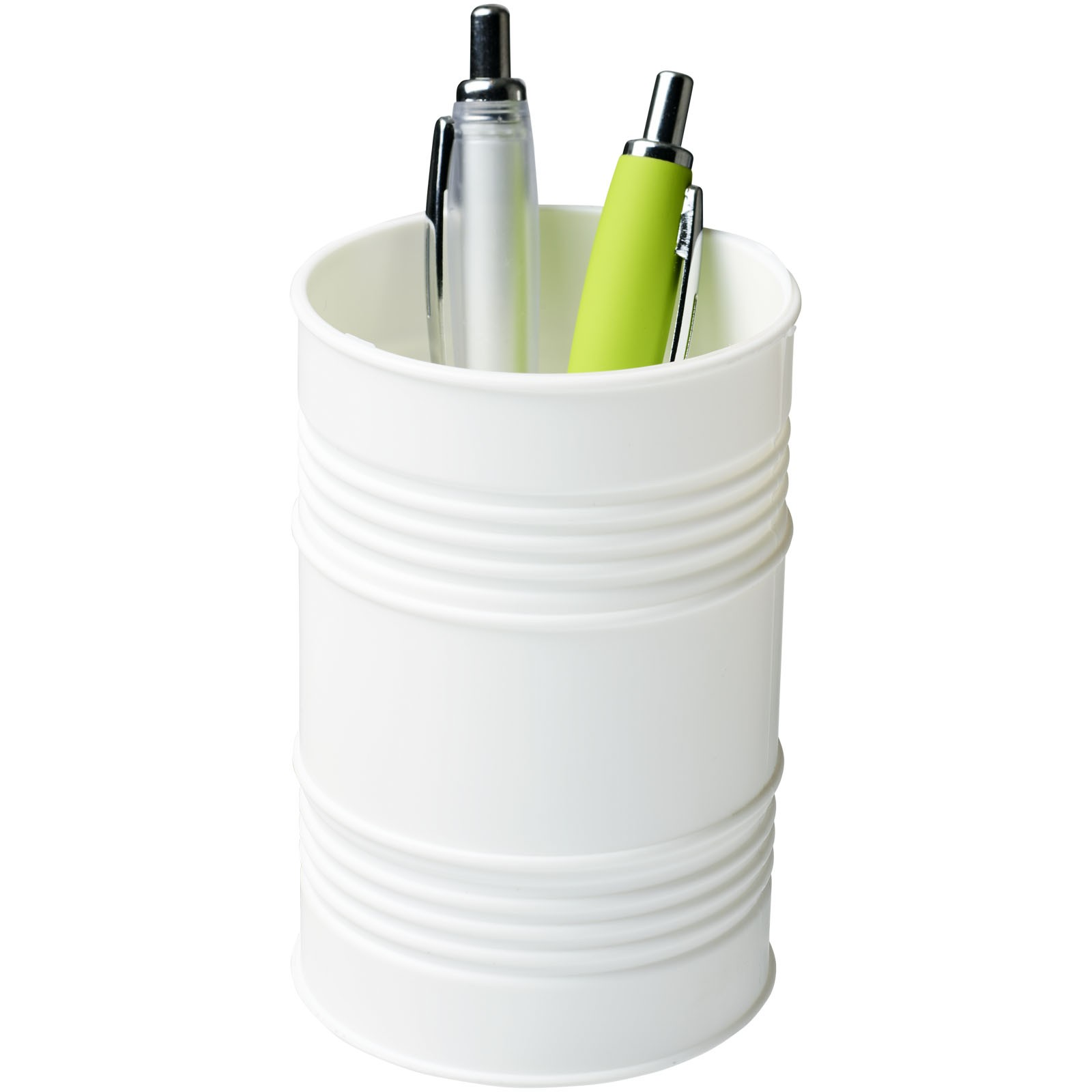Bardo oil drum style plastic pen pot - White