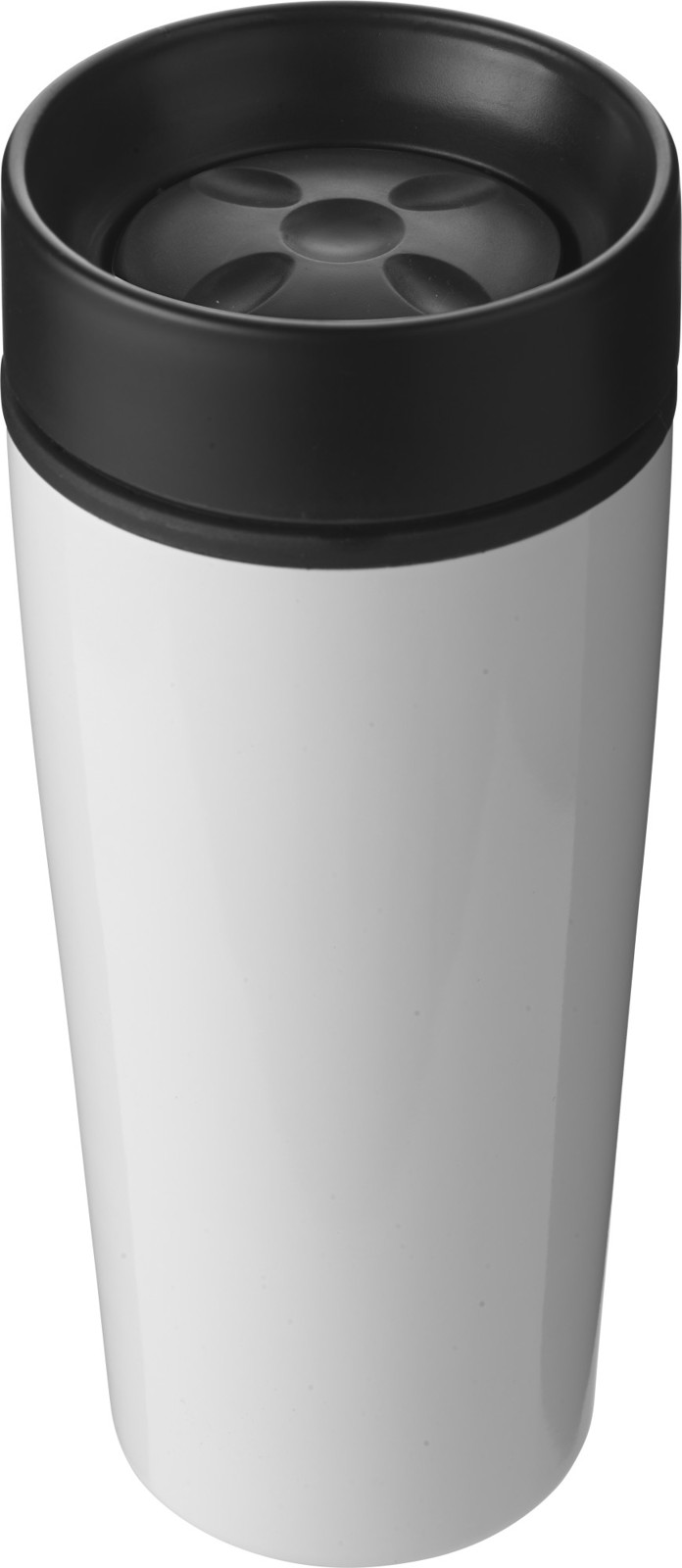 Stainless steel double walled travel mug - White