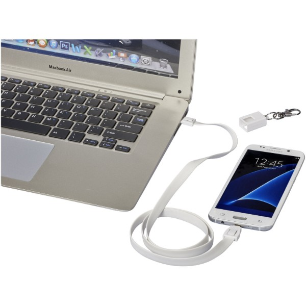 Longy 2-in-1 charging cable with clip - White