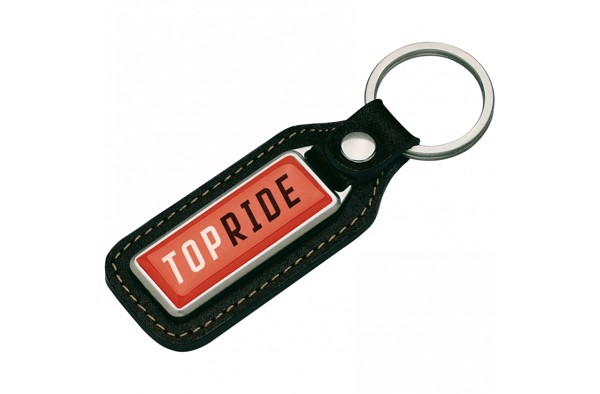 Keyring metal, real leather, Doming.
