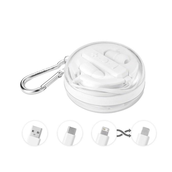 BT Ohrhörer mit 3in1 Kabel Combinados - weiß