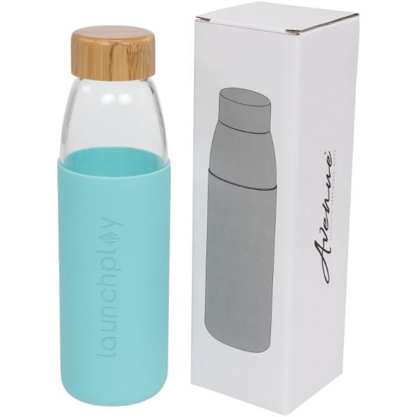 Kai 540 ml glass sport bottle with wood lid - Mint