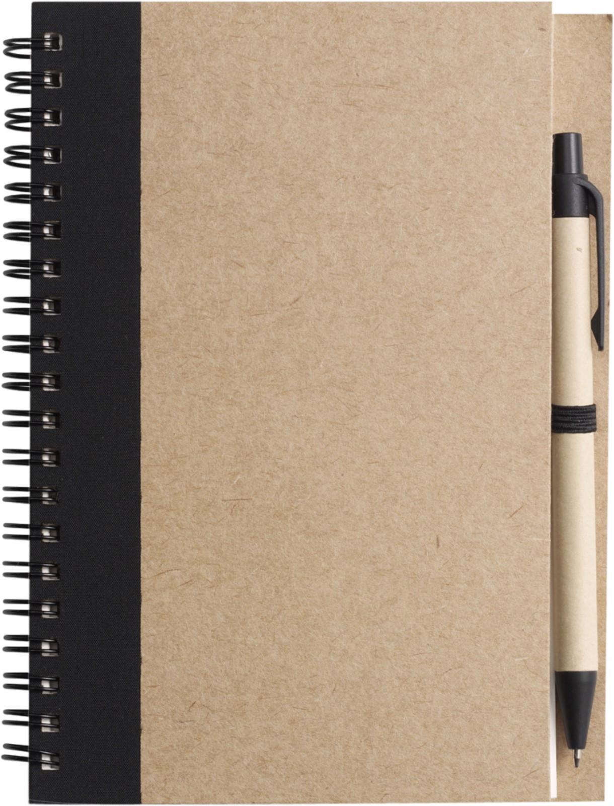 Wire bound notebook with ballpen. - Black