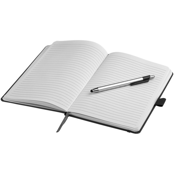 Crown A5 notebook with stylus ballpoint pen - Solid Black