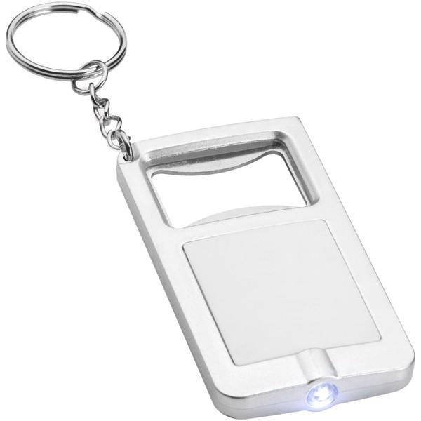 Orcus LED-Schlüssellicht und Flaschenöffner - Weiss / Silber