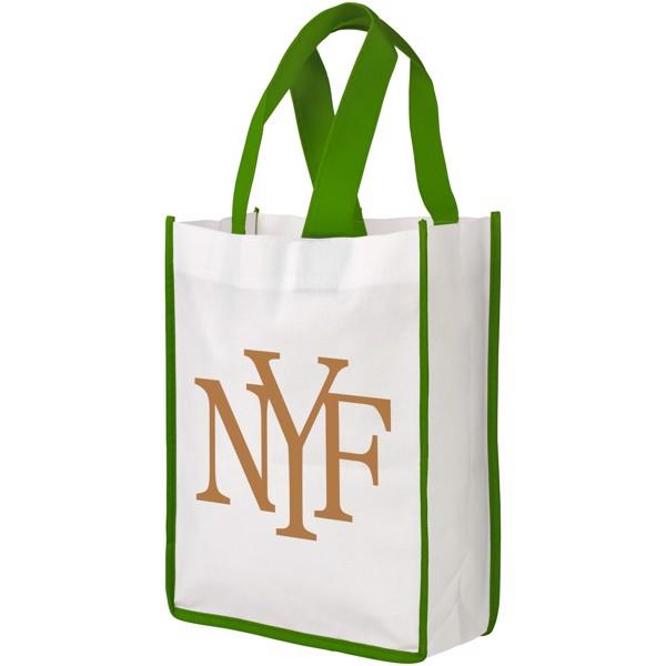 Contrast small non-woven shopping tote bag - White / Green