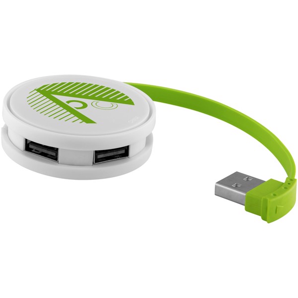 Kulatý USB Hub - Bílá / Limetka