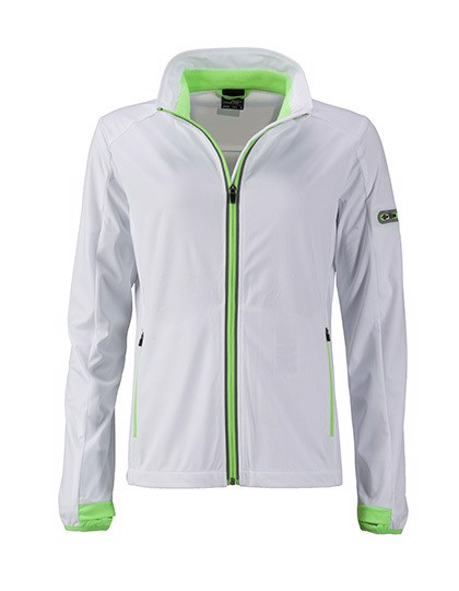 Ladies` Sports Softshell Jacket - White / Bright Green / L