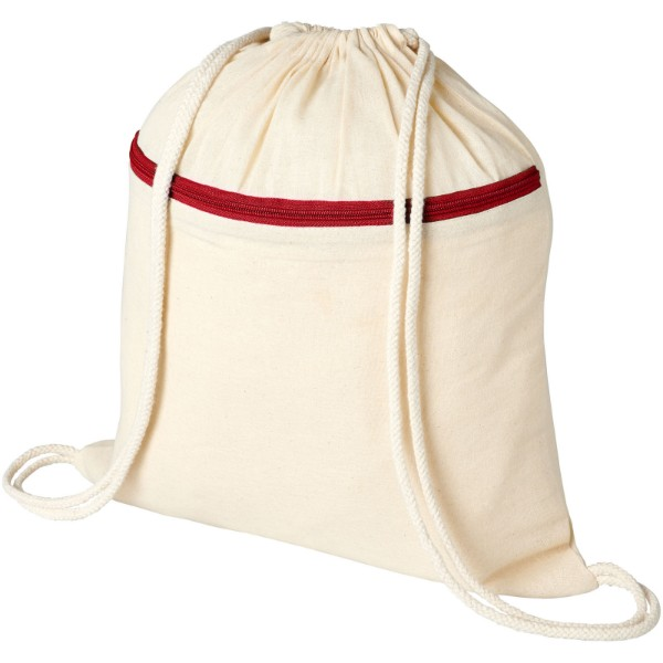 Oregon zippered drawstring backpack - Natural / Red