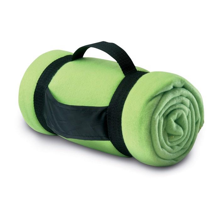 Fleecová deka s popruhy Stavenger - lime