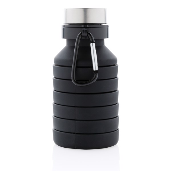 Leakproof collapsible silicone bottle with lid - Black