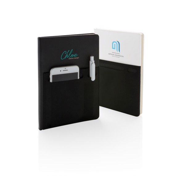 A5 Deluxe notebook with smart pockets - White