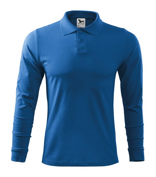Polo Shirt men's Malfini Single J. LS - Azure Blue / XL