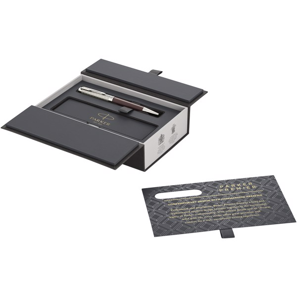 Kuličkové pero Premier - Červená s efektem námrazy / Stříbrný