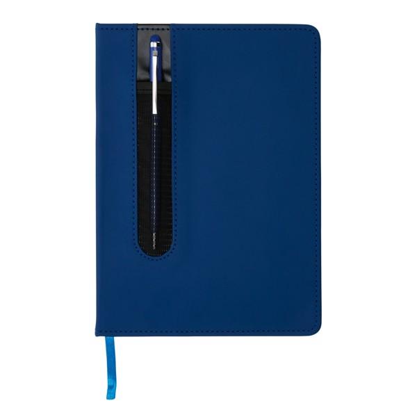 Basic PU keményfedelű A5-ös jegyzetfüzet tollal - Sötétkék