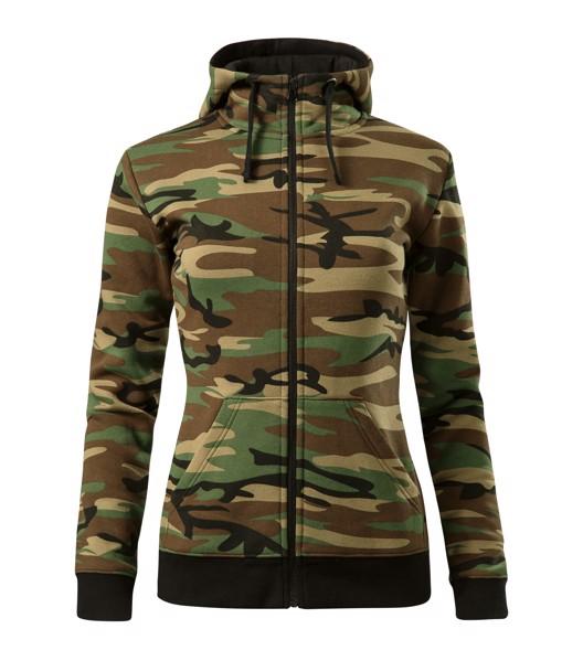 Mikina dámská Malfini Camo Zipper - Camouflage Brown / XL