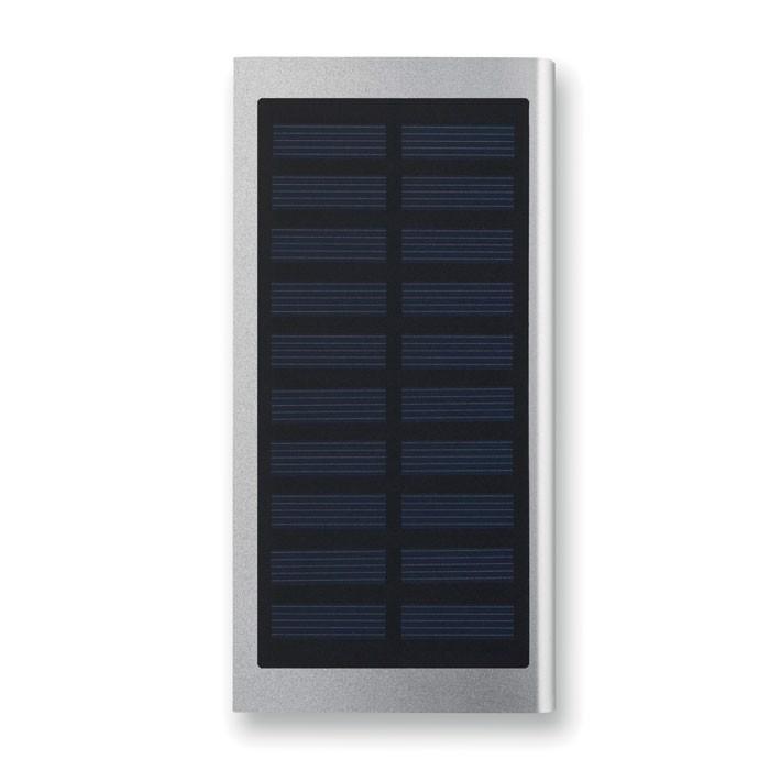 Solarny power bank 8000 mAh Solar Powerflat - srebrny mat
