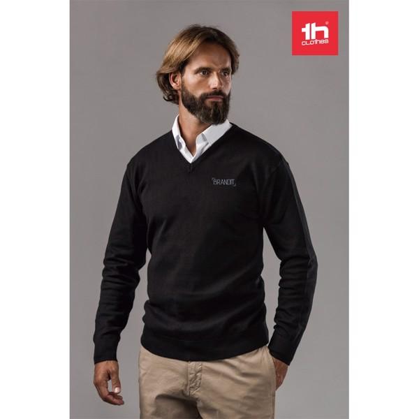 THC MILAN. Pánský svetr s výstřihem do V - Černá / XXL