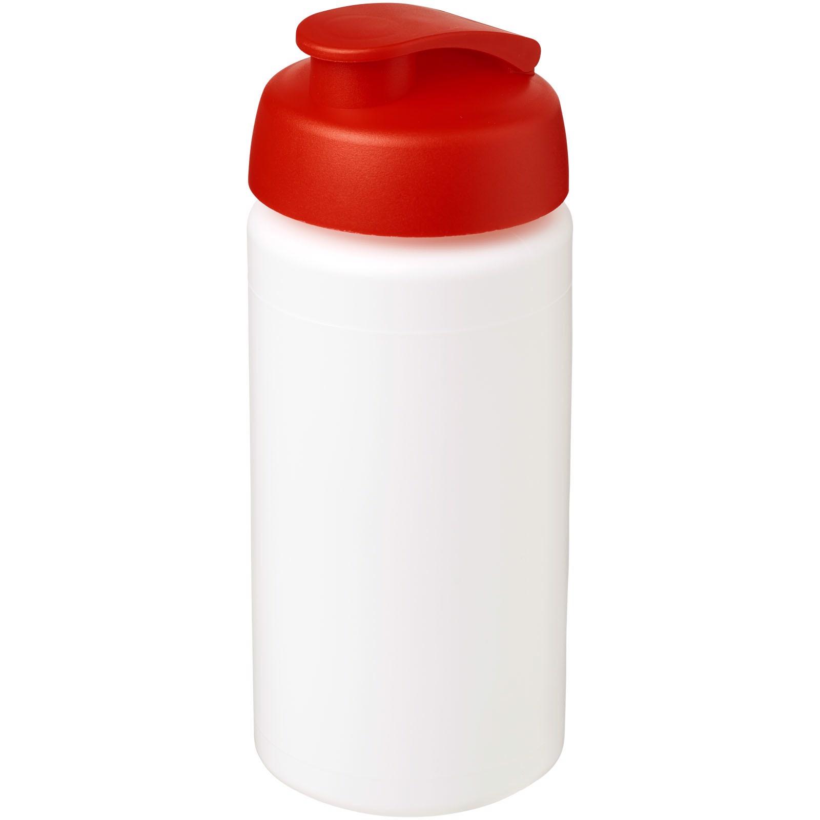 Sportovní láhev s vyklápěcím víčkem Baseline® Plus grip 500 ml - Bílá / Červená s efektem námrazy