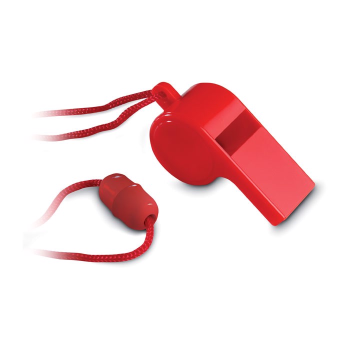 Whistle with security necklace Referee - Red