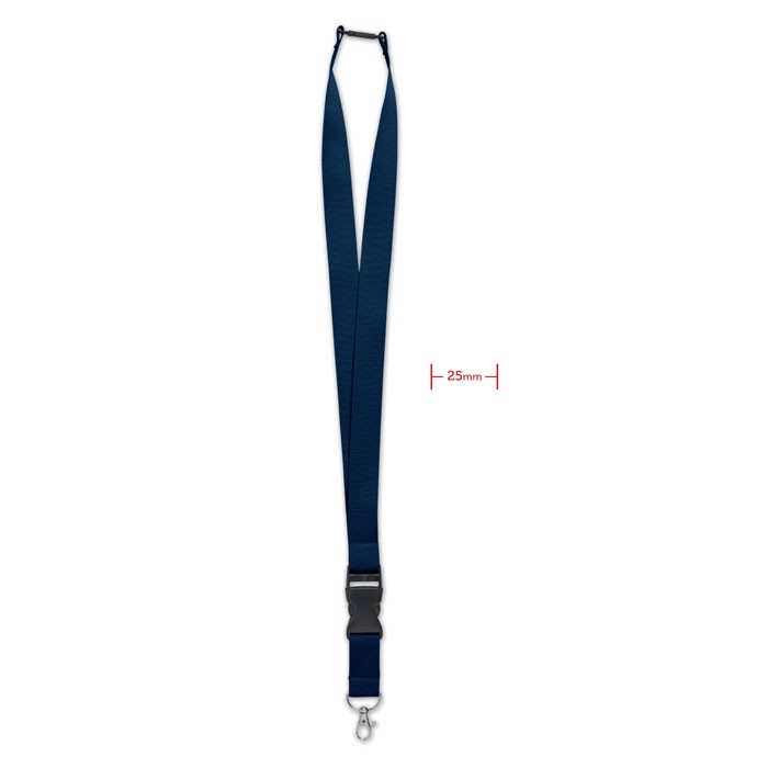 Lanyard with metal hook 25mm Wide Lany - Blue