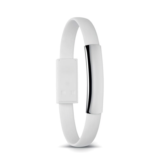 Bracelet cable with micro USB Cablet - White
