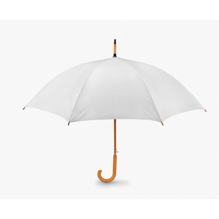 Umbrelă automată/ mâner lemn Cumuli - white