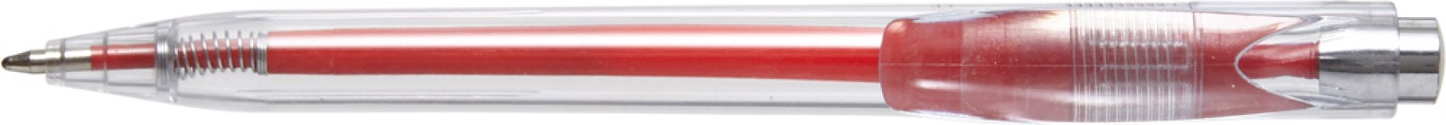 Plastic transparent ballpen with coloured refill - Red