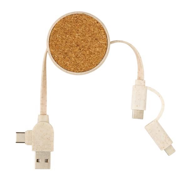 Svinovací kabel 6 v 1 z korku a pšenice