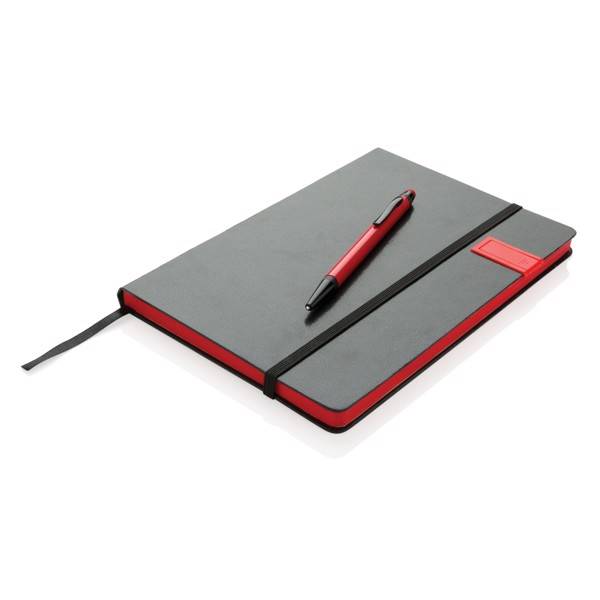 Delux 8GB USB jegyzetfüzet érintőtollal - Piros / Fekete