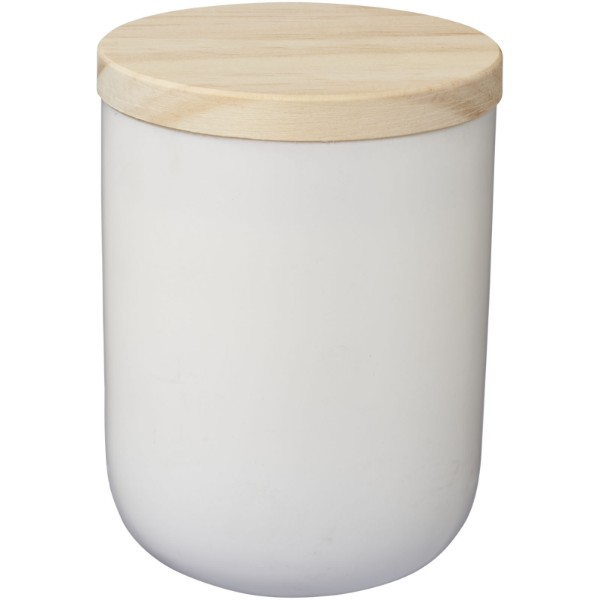 Lani candle with wooden lid - White