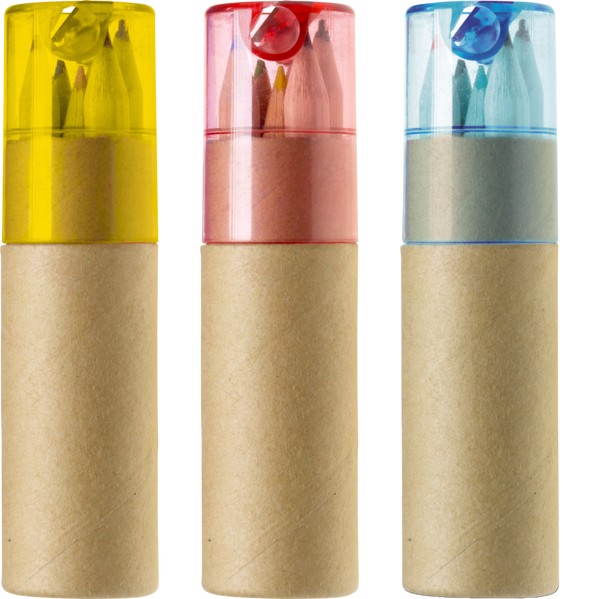 ABS and cardboard tube with pencils - Yellow