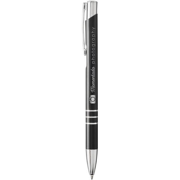 Moneta laser colour aluminium click ballpoint pen - Solid Black / Silver