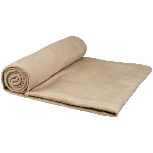 Aira RPET micro plush fleece blanket with cotton pouch