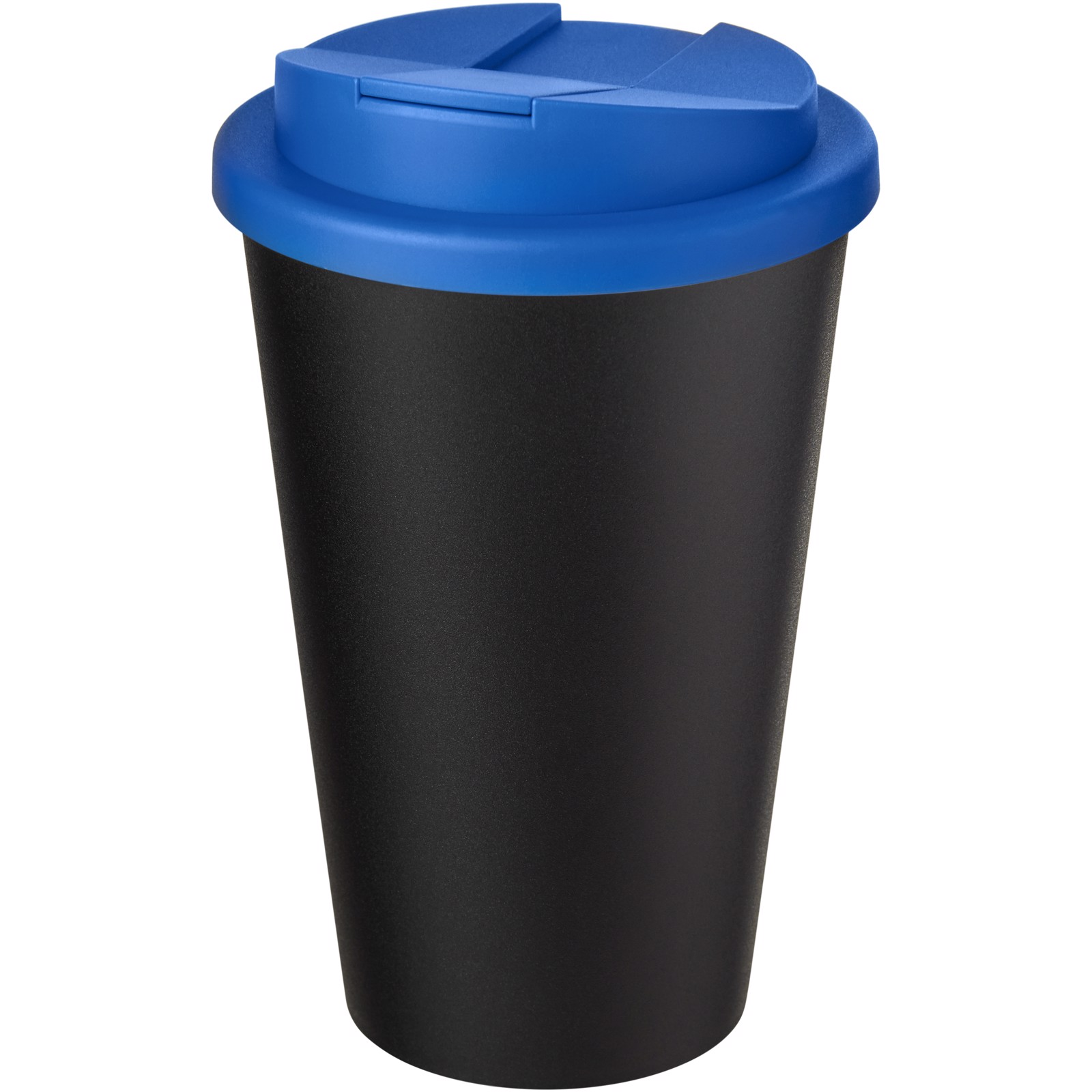Americano® Eco 350 ml recycled tumbler with spill-proof lid - Mid blue / Solid black