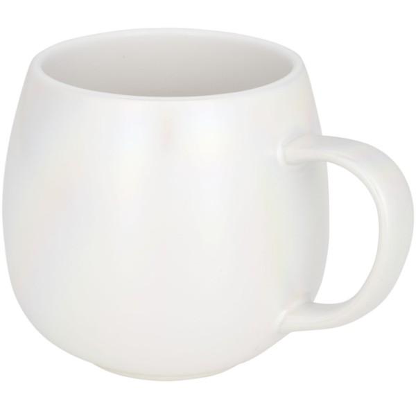Glitz 420 ml iridescent ceramic mug - White