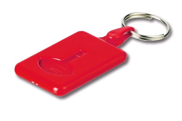 BUS. Coin-shaped keyring for supermarket trolley - Red