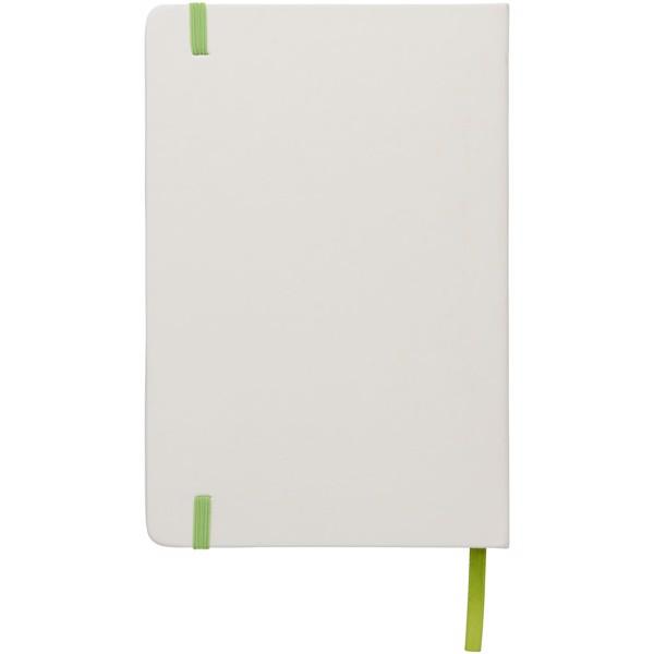 Bílý zápisník Spectrum A5 s barevnou páskou - Bílá / Limetka