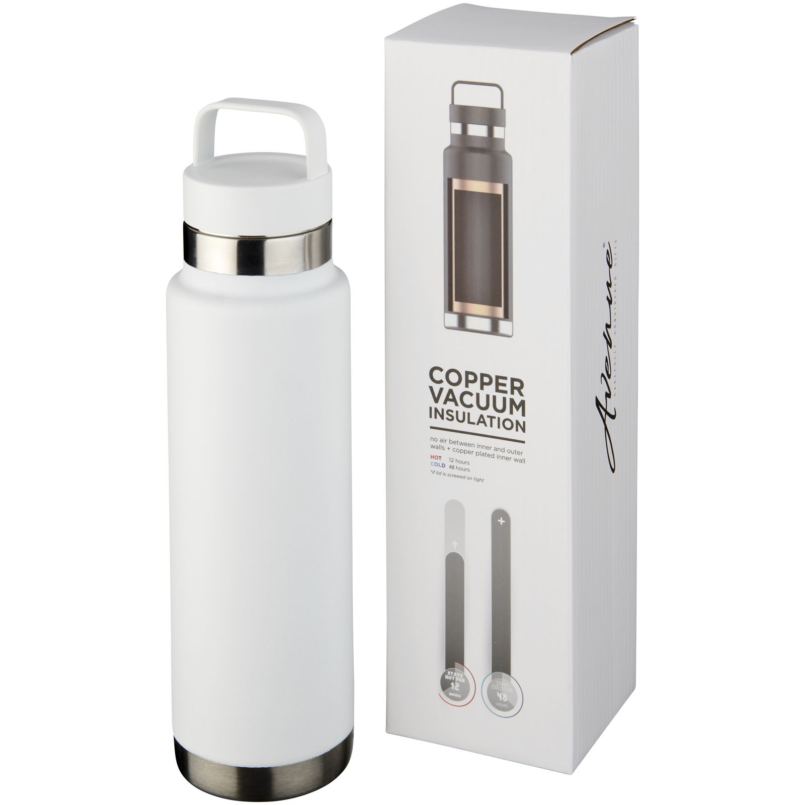 Colton 600 ml copper vacuum insulated sport bottle - White