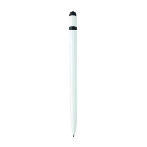 Bolígrafo fino de aluminio - Blanco