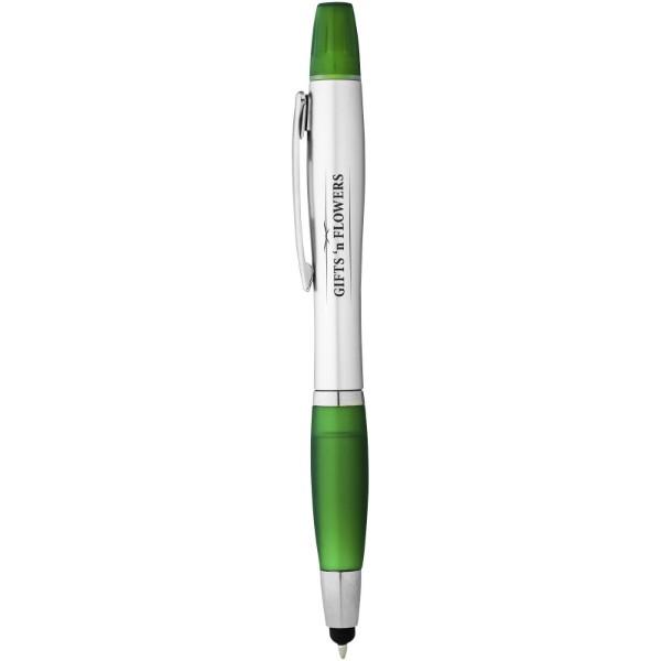 Kuličkové pero, stylus a zvýrazňovač Nash - Stříbrný / Zelená