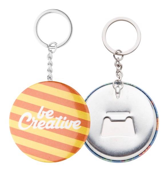 Button-Schlüsselanhänger KeyBadge Bottle - Silber